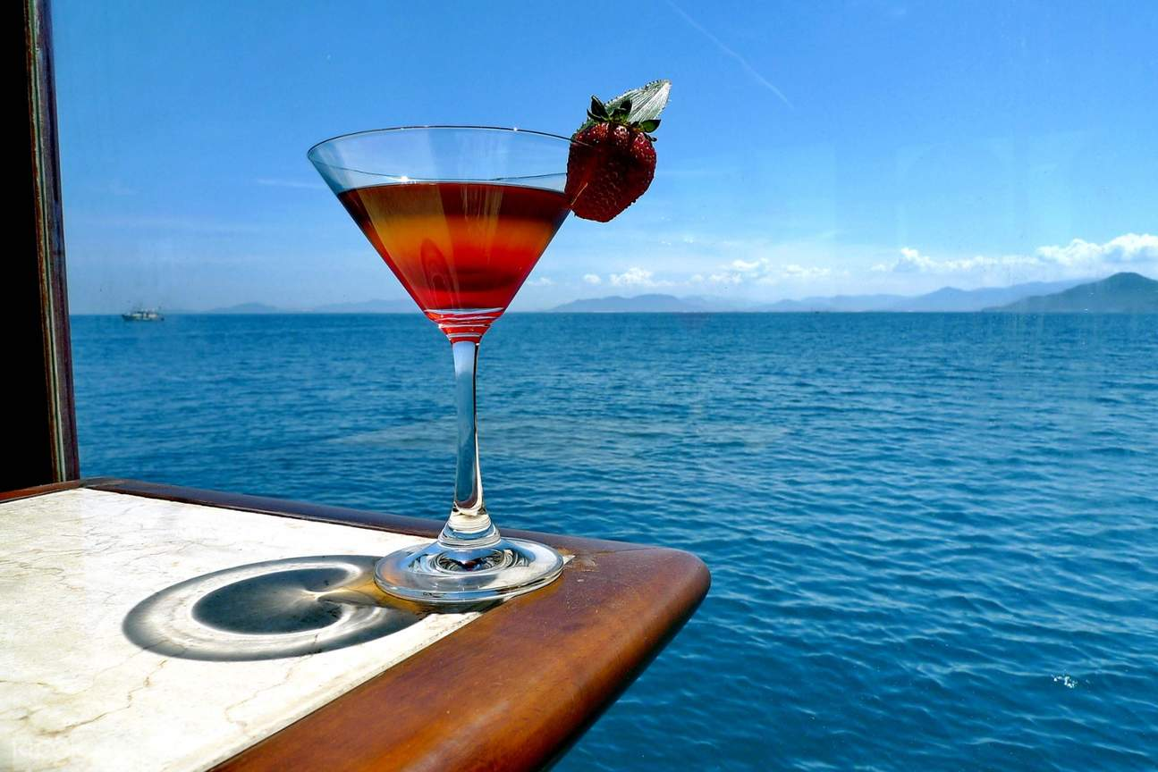 cocktail drink by the boat